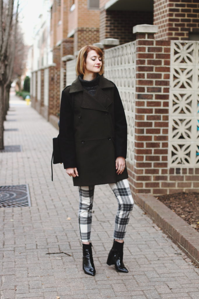 oversized knit and plaid skinny pants