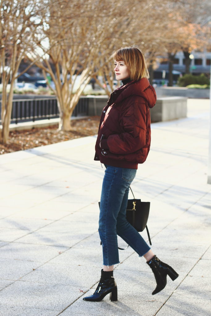 puffer, cropped denim & patent boots