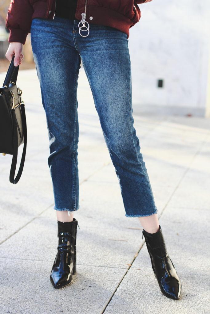 cropped denim, patent boots & Celine bag