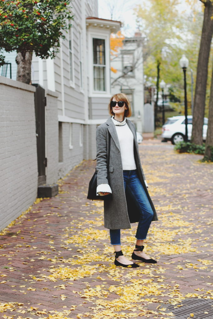 long gray coat and bell sleeve sweater