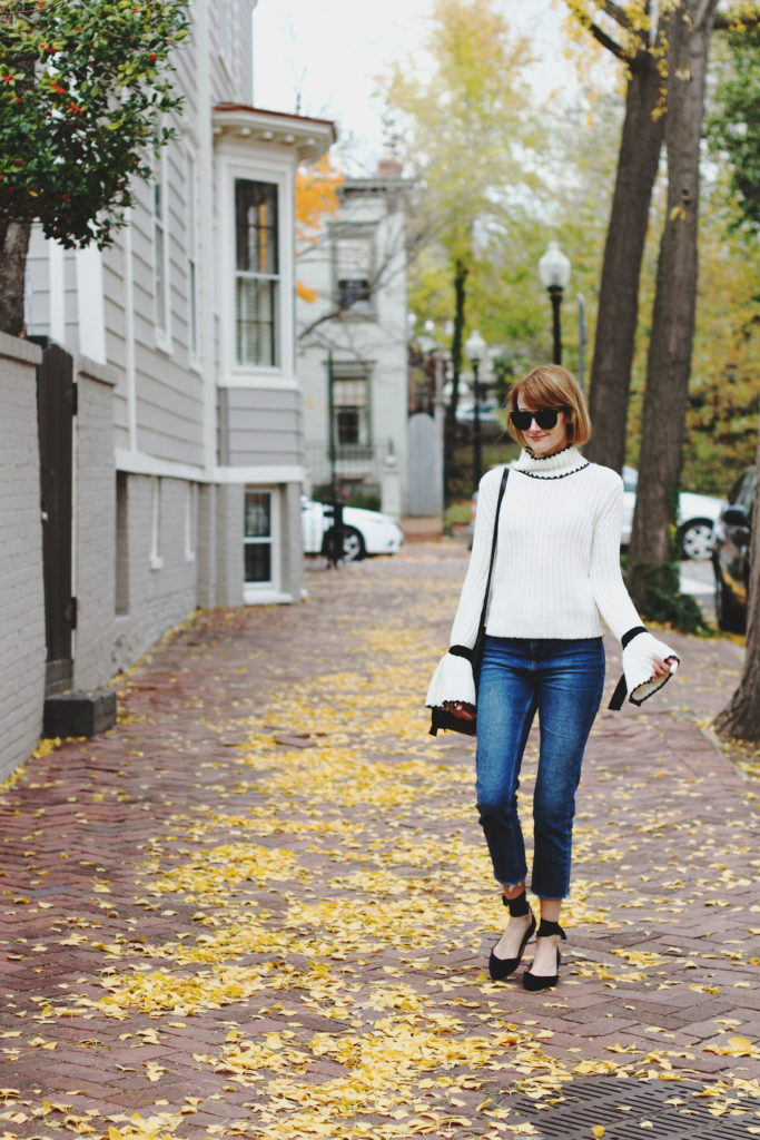 bell sleeve sweater and cropped denim