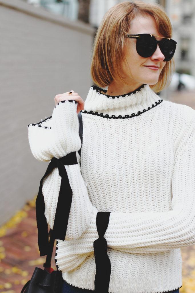 bell sleeve sweater and Mansur Gavriel bag