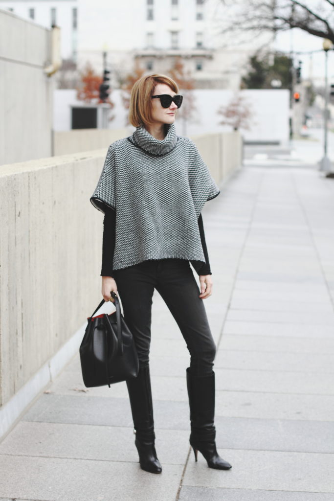 WoolOvers poncho and DL1961 denim