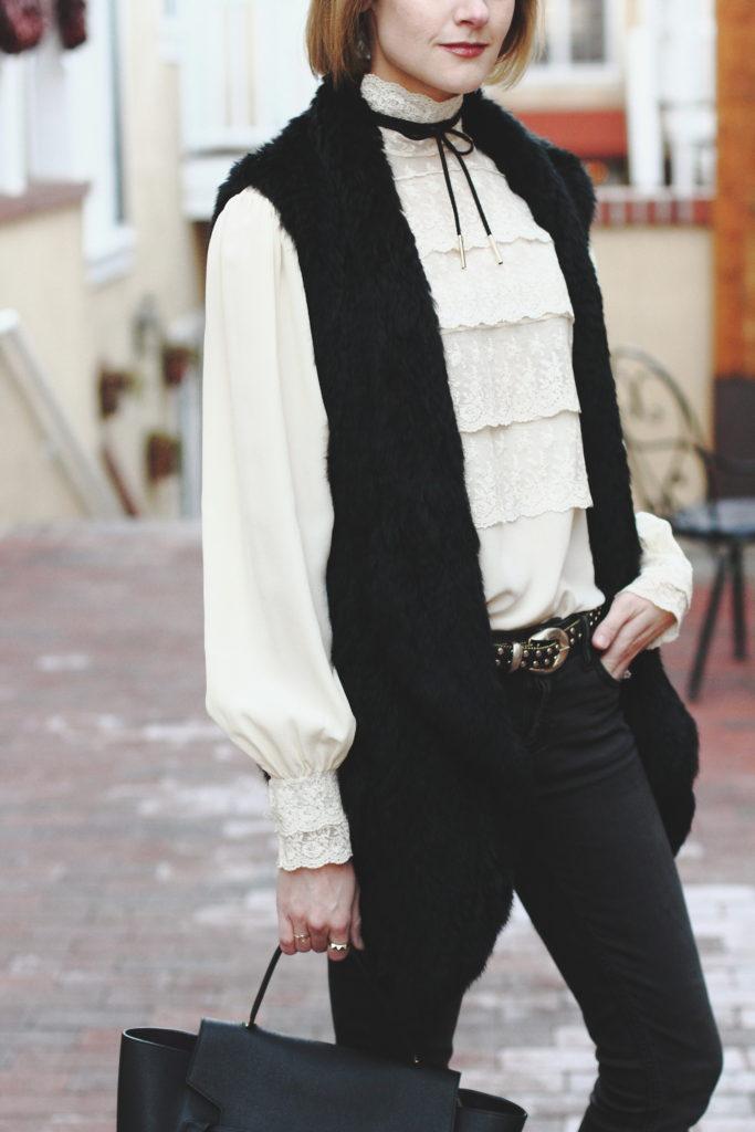 vintage lace blouse, tie choker, and fur vest