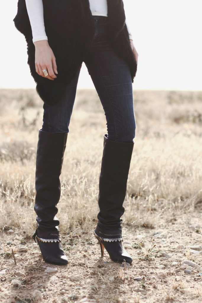 denim and over the knee boots