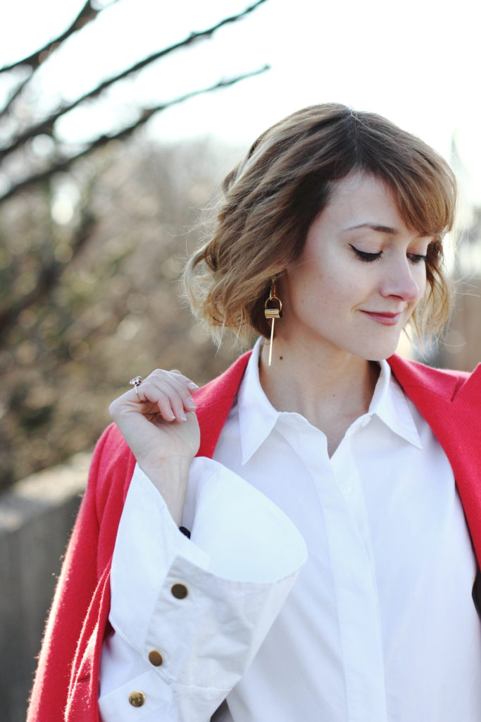 bell sleeve button-down and red blazer