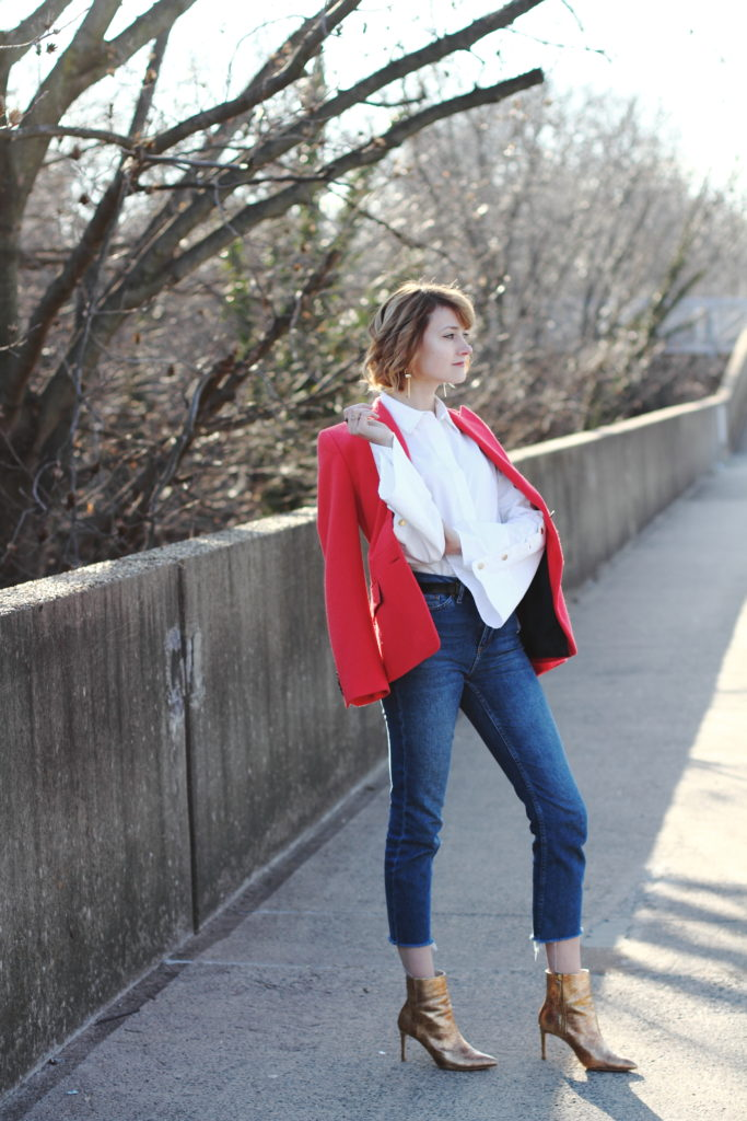 bell sleeve button-down, red blazer and cropped denim