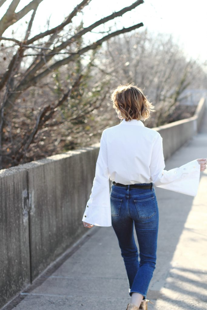 Pixie Market bell sleeve button-down and cropped denim