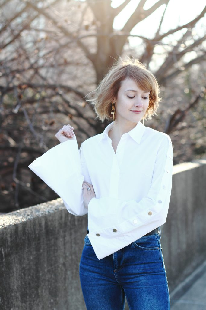 bell sleeve button-down and Gucci belt