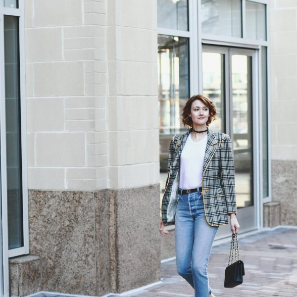 vintage Ungaro blazer, Reformation t-shirt, Re/Done denim, and Chanel bag