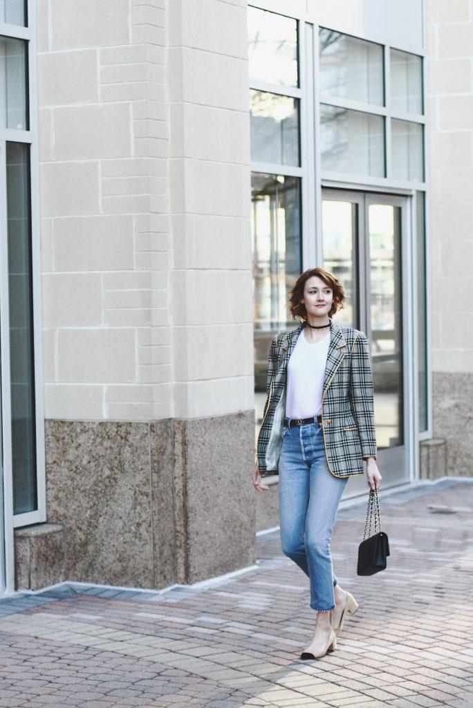 vintage Ungaro blazer, Reformation t-shirt, Re/Done denim, and Chanel bag