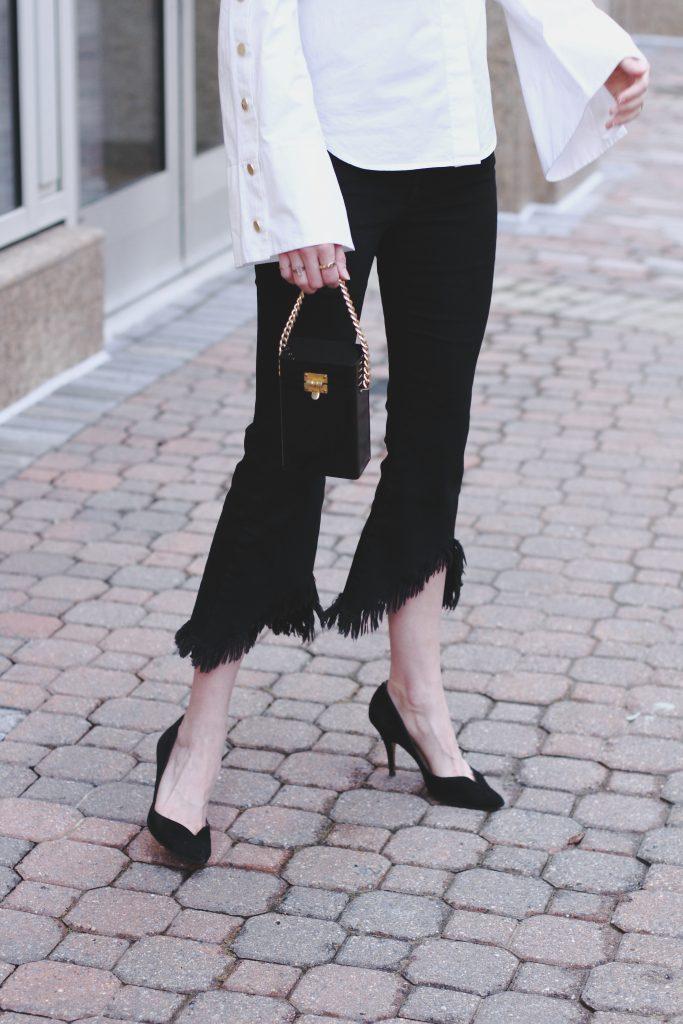 flare sleeve button-down, cropped denim, vintage mini bag
