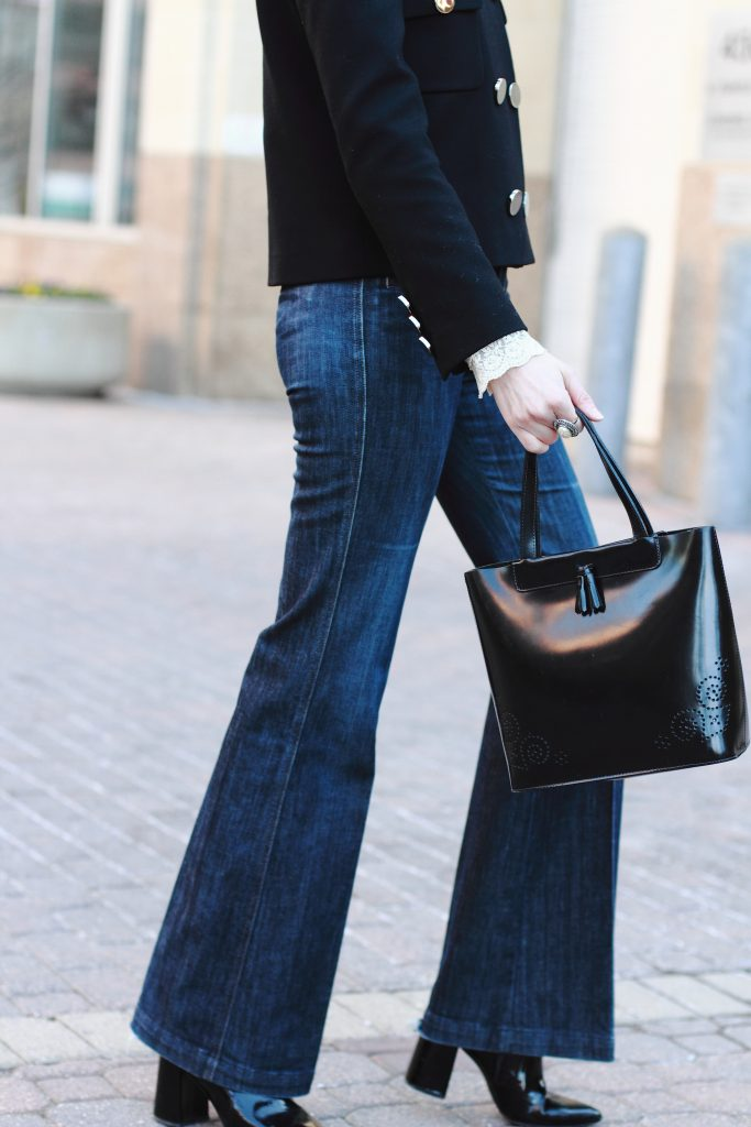 tailored jeans and patent tote