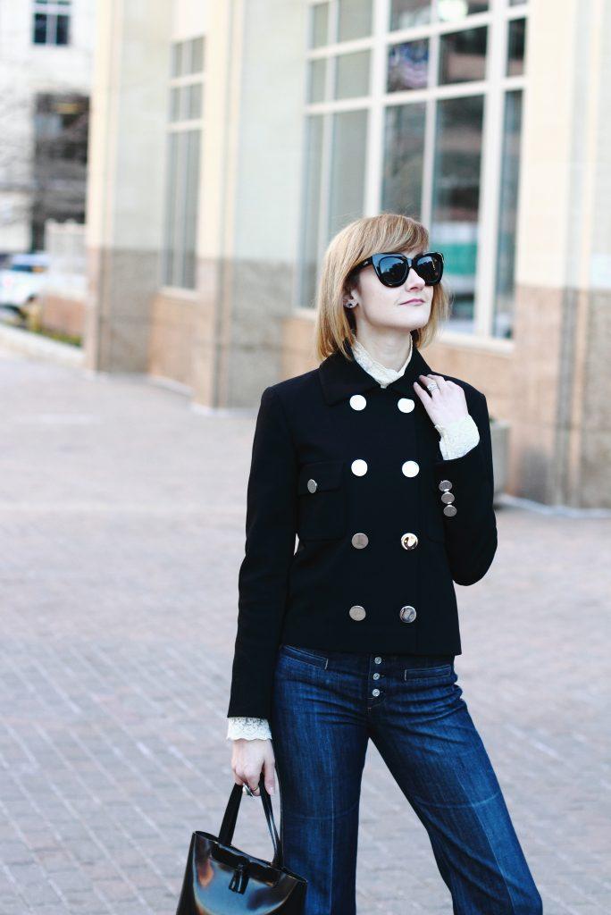 Gucci jacket and ruffled blouse