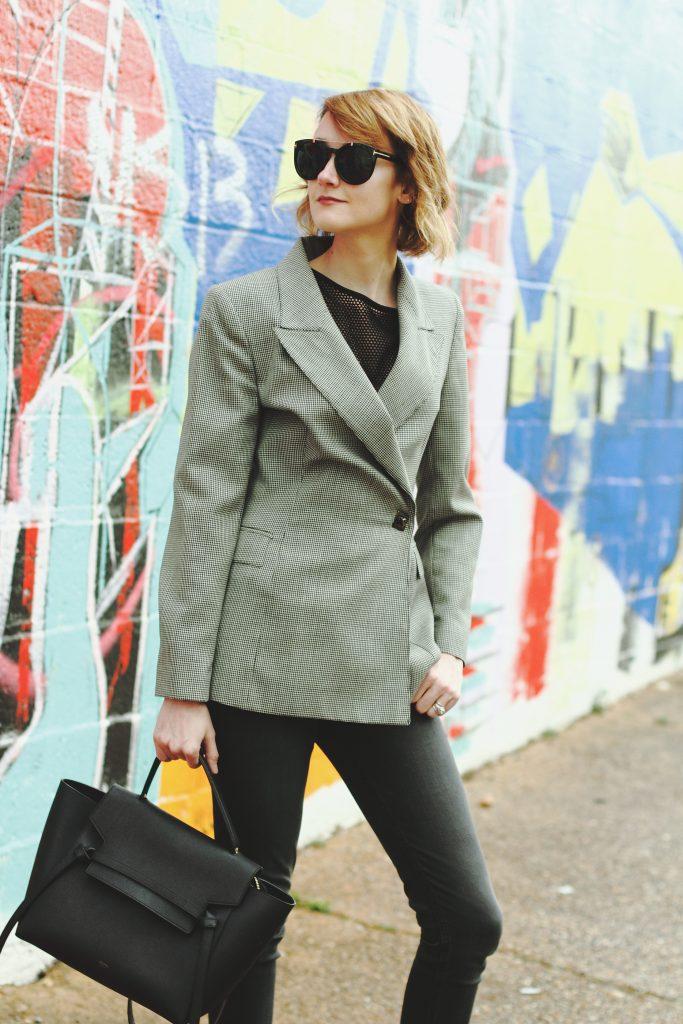 Genuine People sunglasses, vintage blazer and DL1961 denim