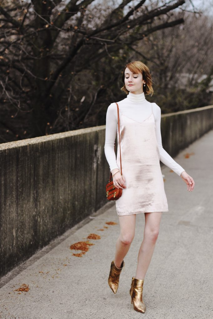 Reformation turtleneck, Genuine People slip dress and gold ankle boots