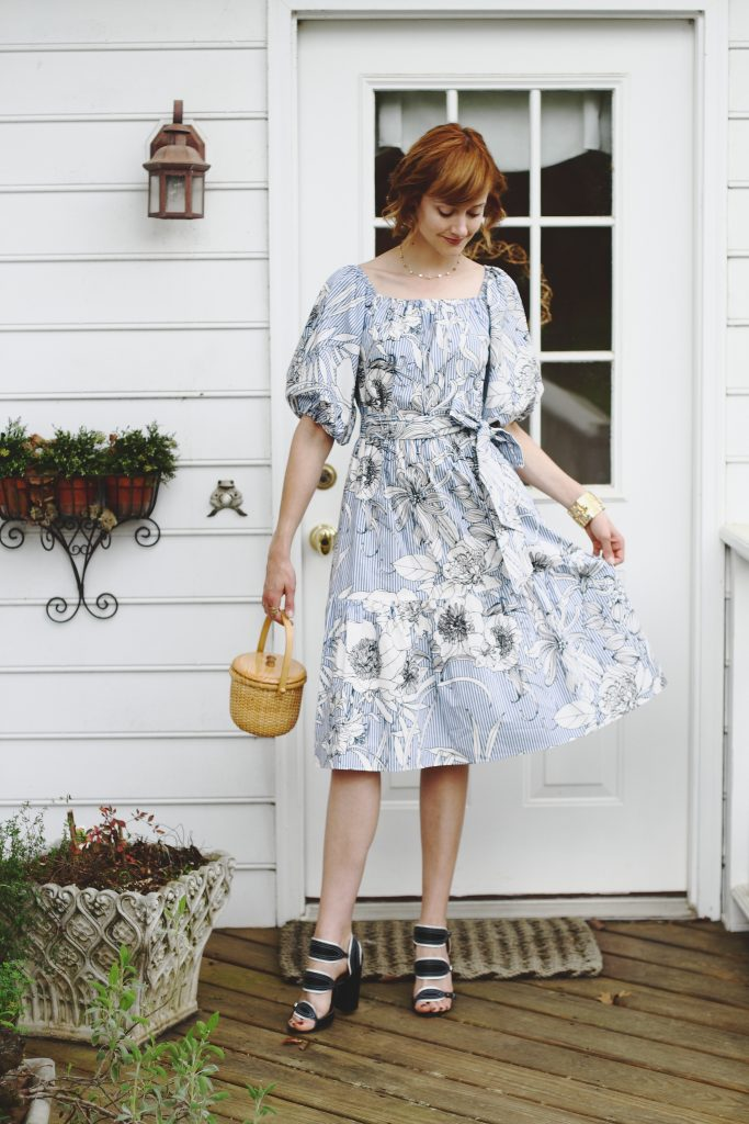 Zara dress, Tabitha Simmons sandals, and basket bag