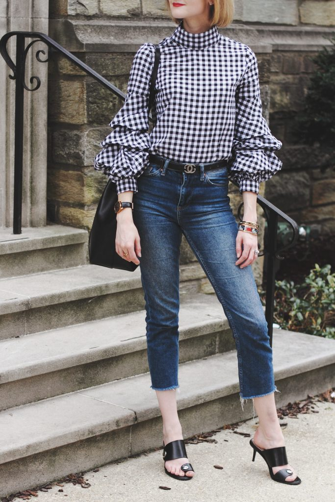 gingham top, cropped jeans, and Zara sandals