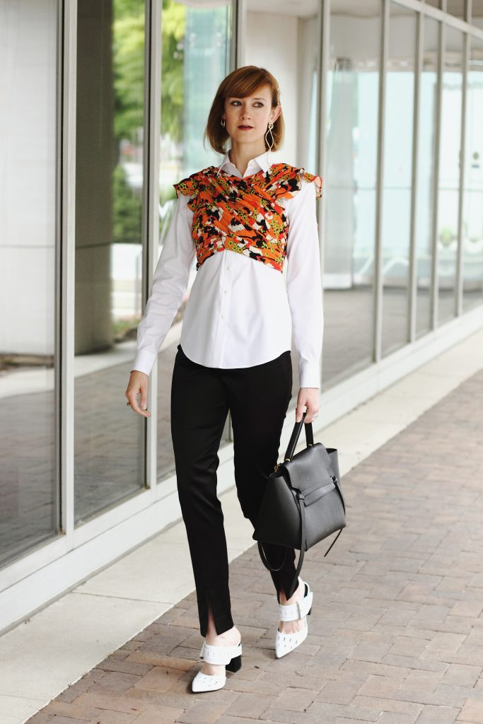 Mango bustier top, button-down, and satin slit pants