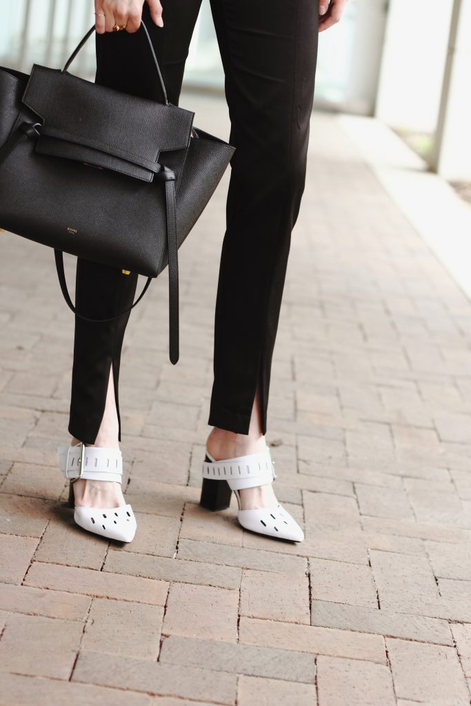 Celine bag, slit trousers, and Genuine People mules
