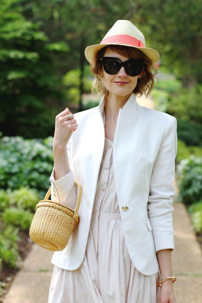 straw fedora, Zara blazer, Anthropologie shirt dress, and straw bag