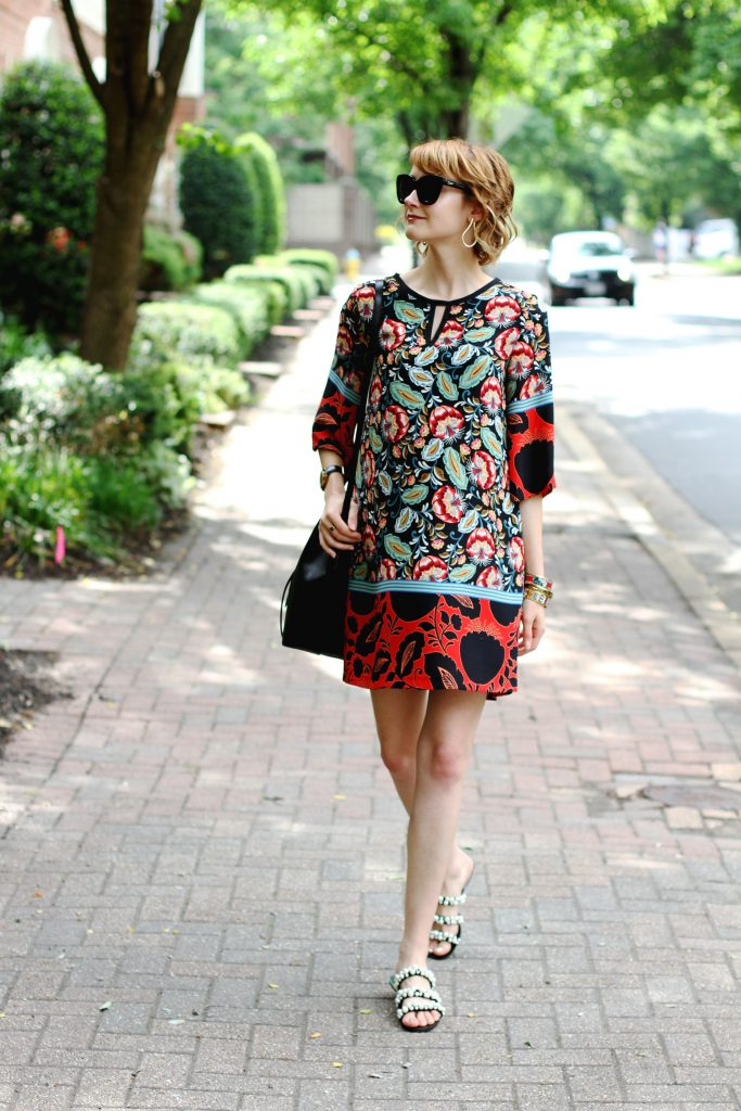 Mango print dress and Zara pearl-embellished slides