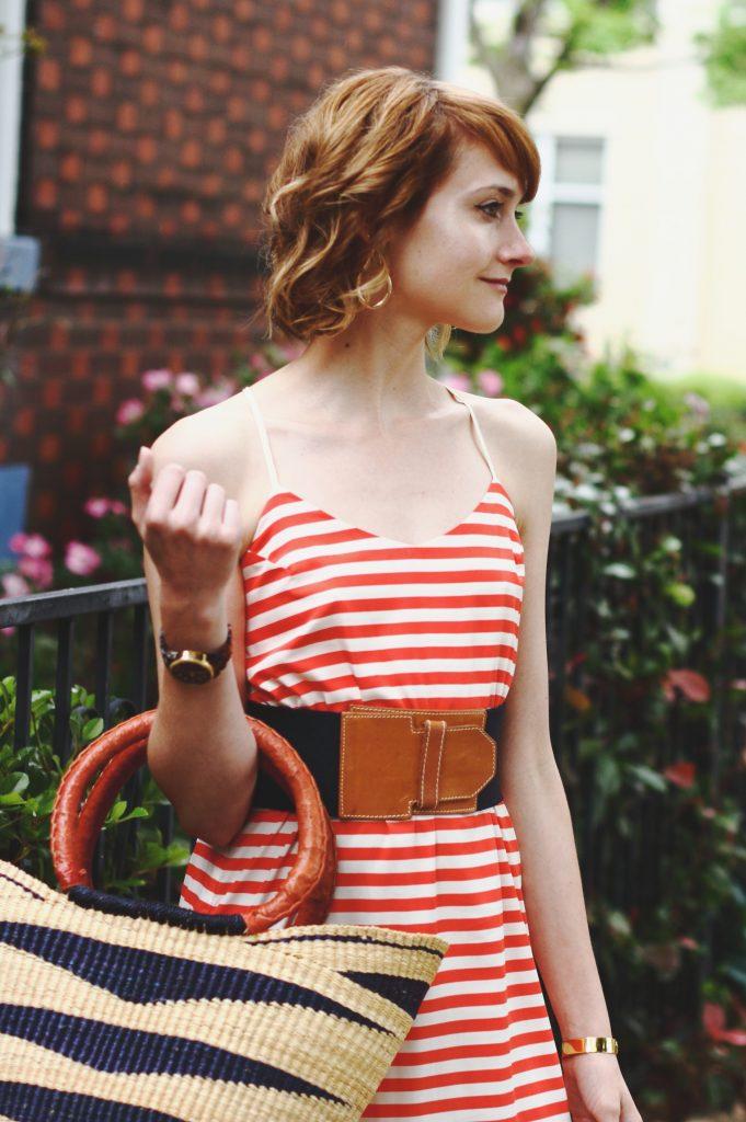 Current Boutique striped dress and vintage belt