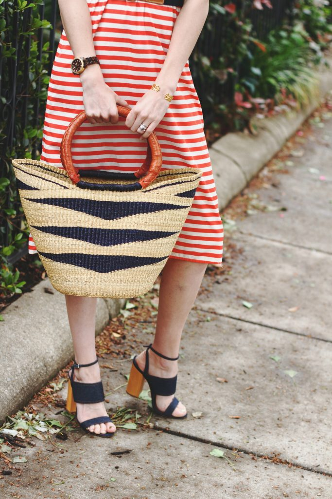 Current Boutique striped dress, basket bag, and Tabitha Simmons sandals