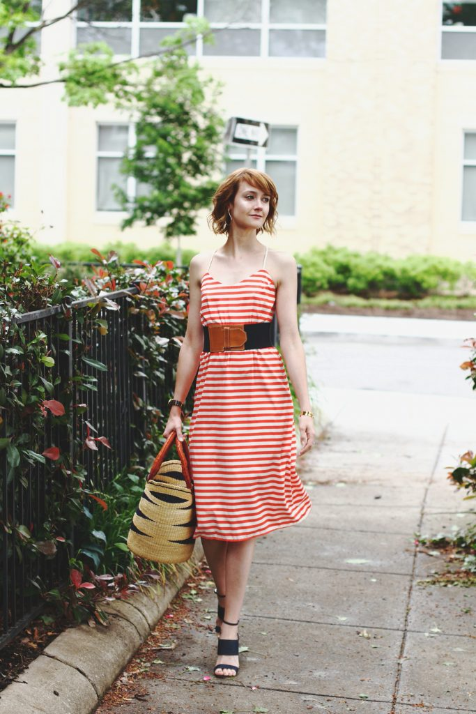 Current Boutique striped dress and Tabitha Simmons sandals