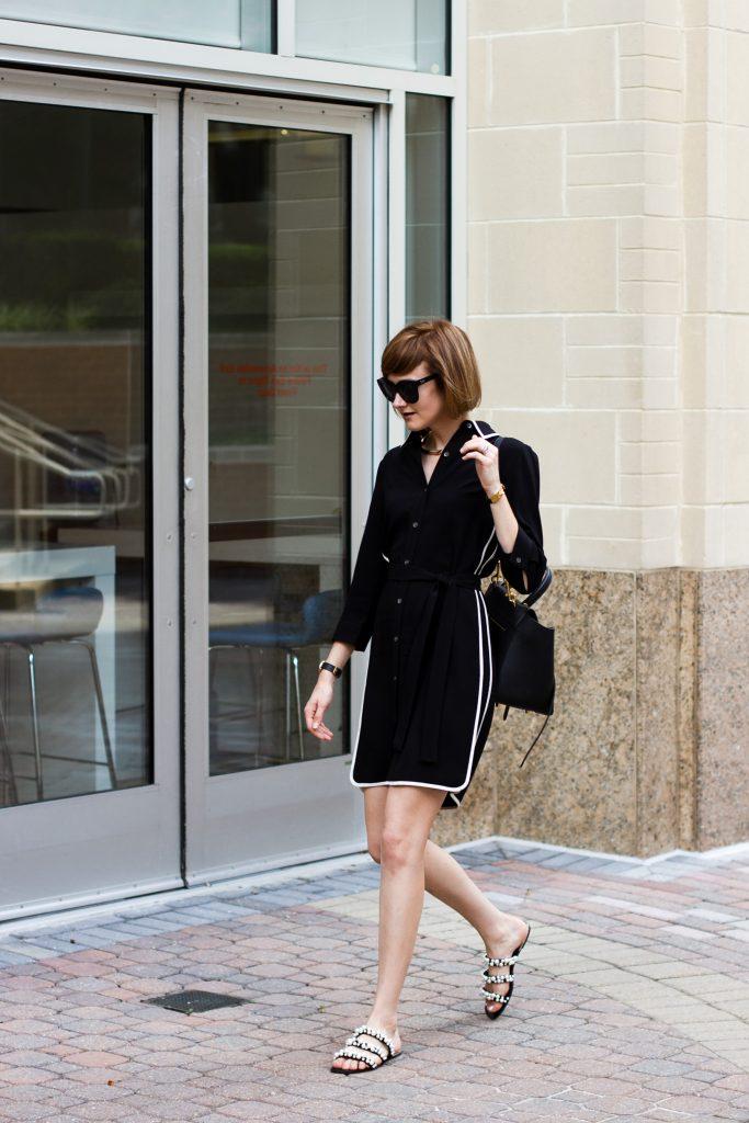 Ann Taylor shirt dress and Zara pearl slides