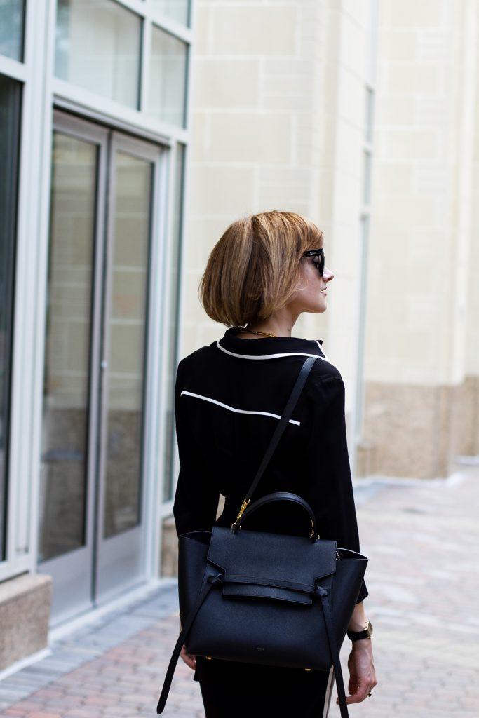 Ann Taylor shirt dress and Celine belt bag