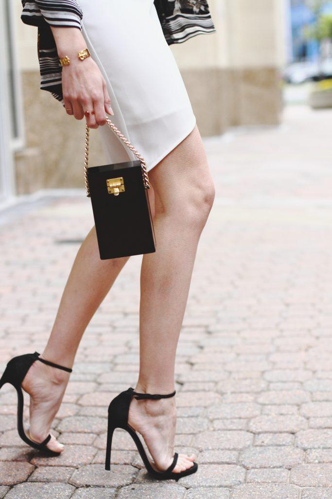 white slip dress, Stuart Weitzman Nudist sandals