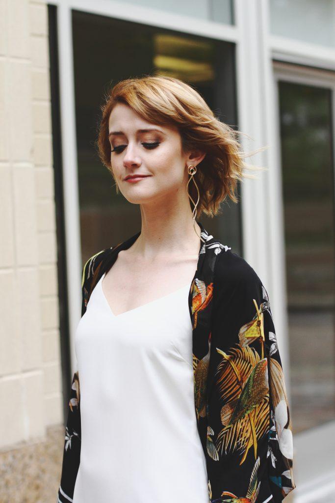 Mango asymmetrical, white slip dress, kimono jacket
