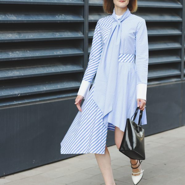 Genuine People shirt dress and two-tone mary janes