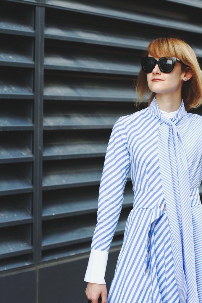 Quay sunglasses and Genuine People shirt dress