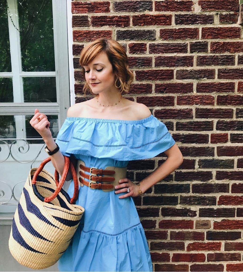 off the shoulder dress and corset belt