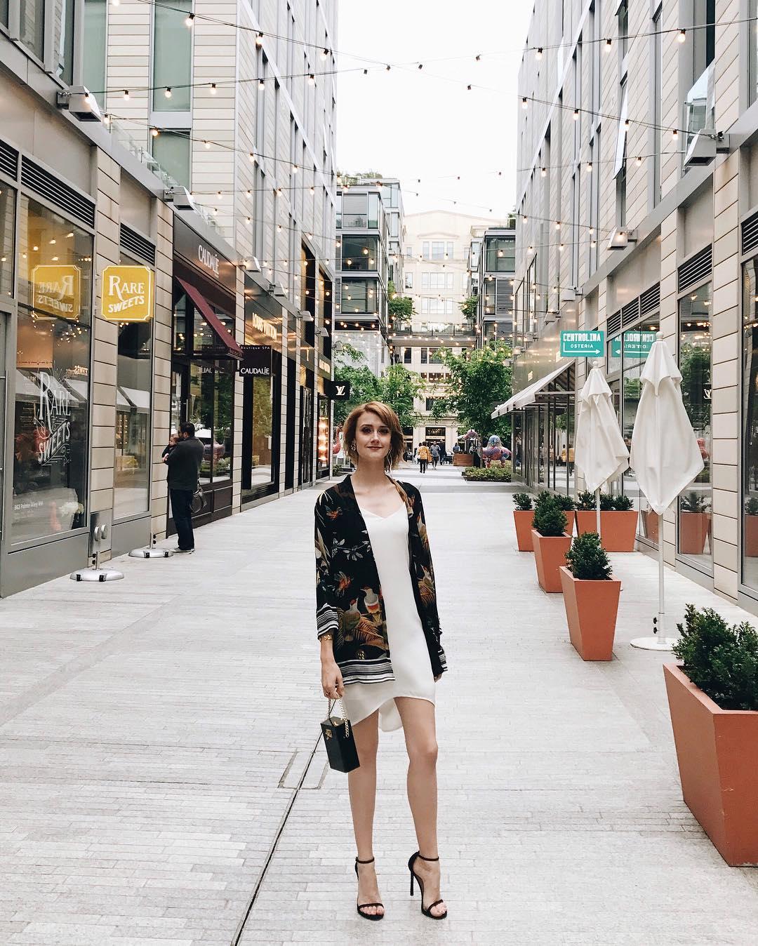 Pixie Market kimono jacket, white slip dress and Stuart Weitzman heels