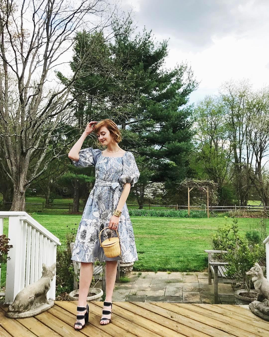 Zara pinstripe dress and Tabitha Simmons sandals