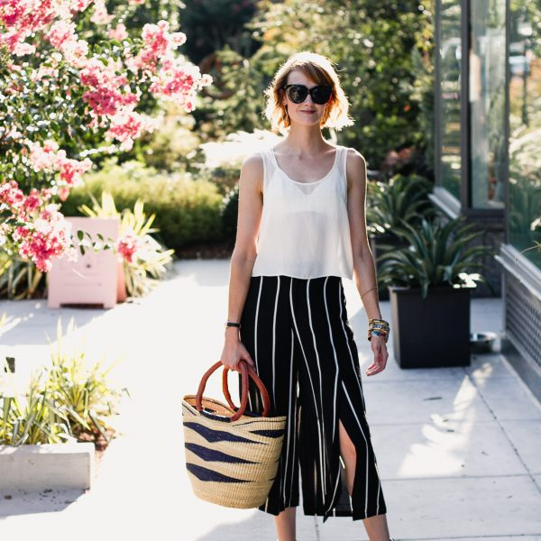 sheer crop top and Mango striped culottes