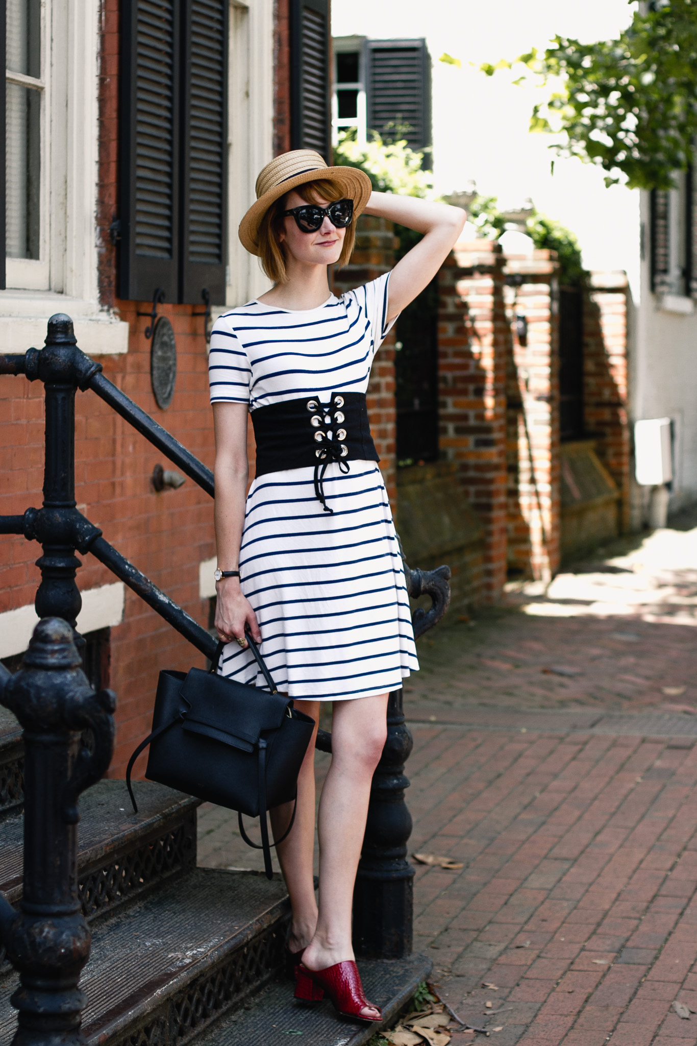 striped dress, corset belt, and Donald J Pliner mules