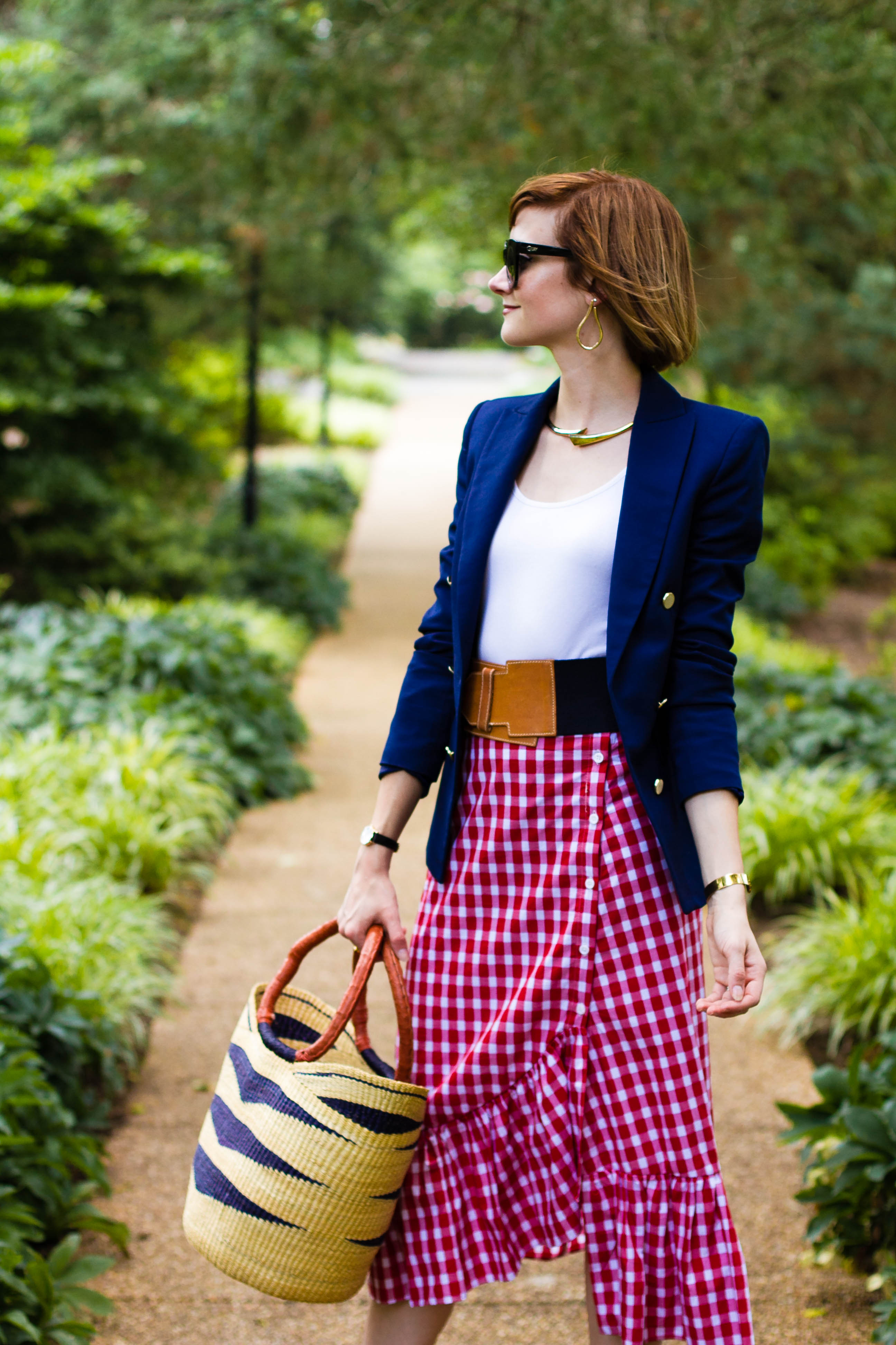 navy blazer, Zara gingham skirt, and straw bag