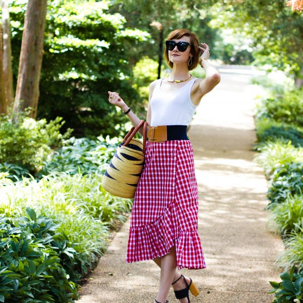 Zara gingham skirt, straw bag, and Tabitha Simmons sandals