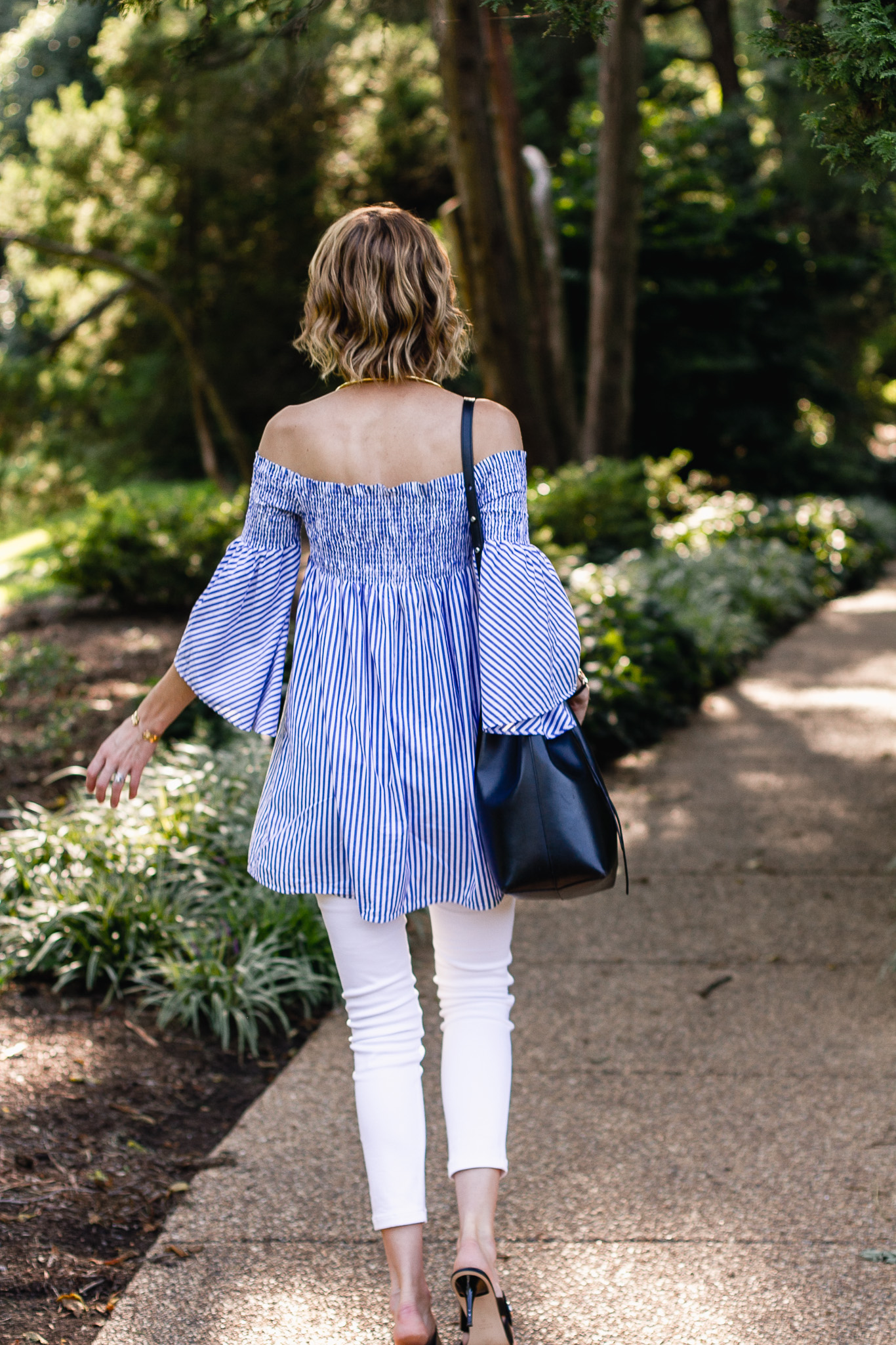 Zara bell sleeve top and St. John white pants