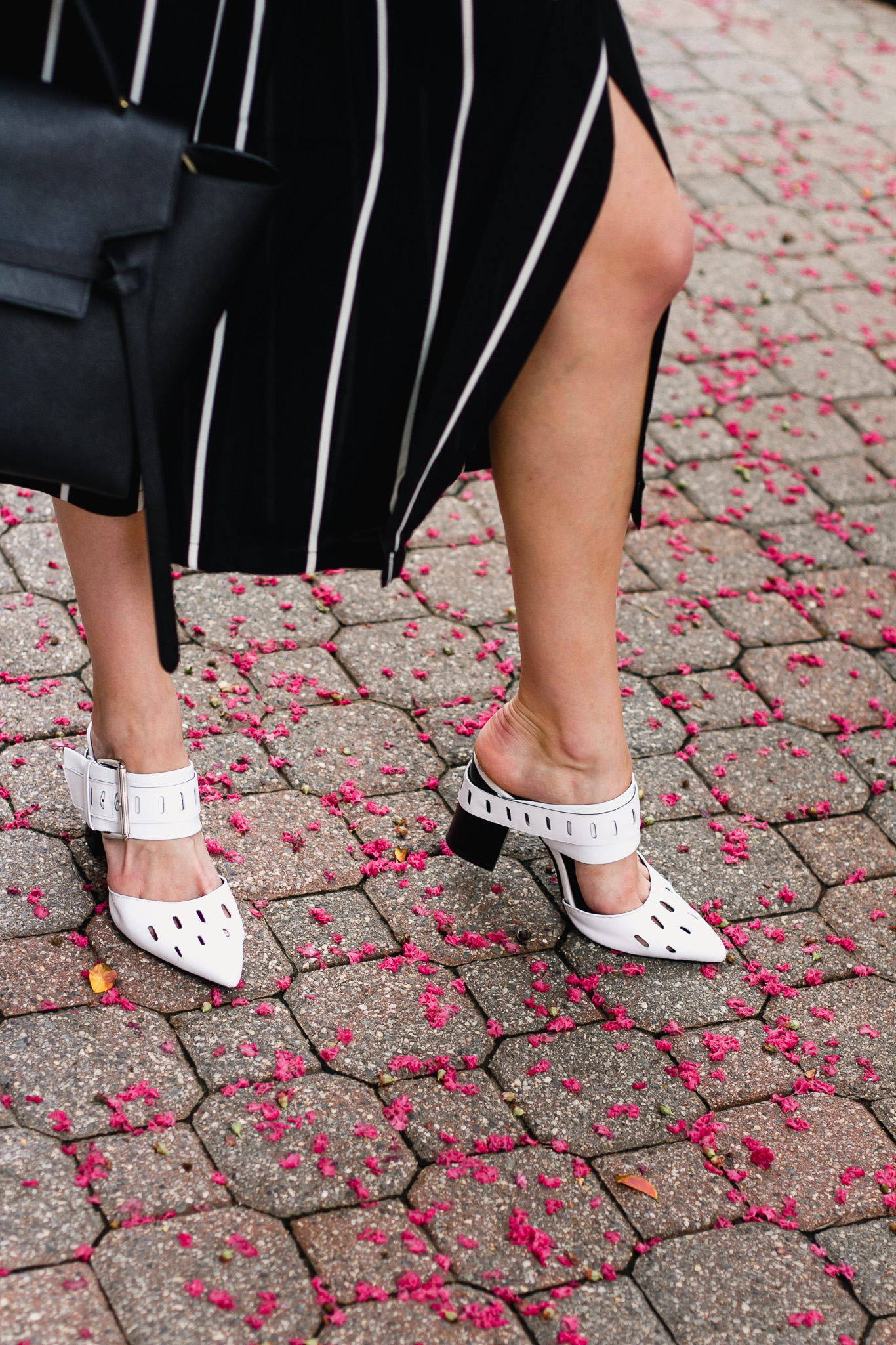 Mango striped culottes and Genuine People mules