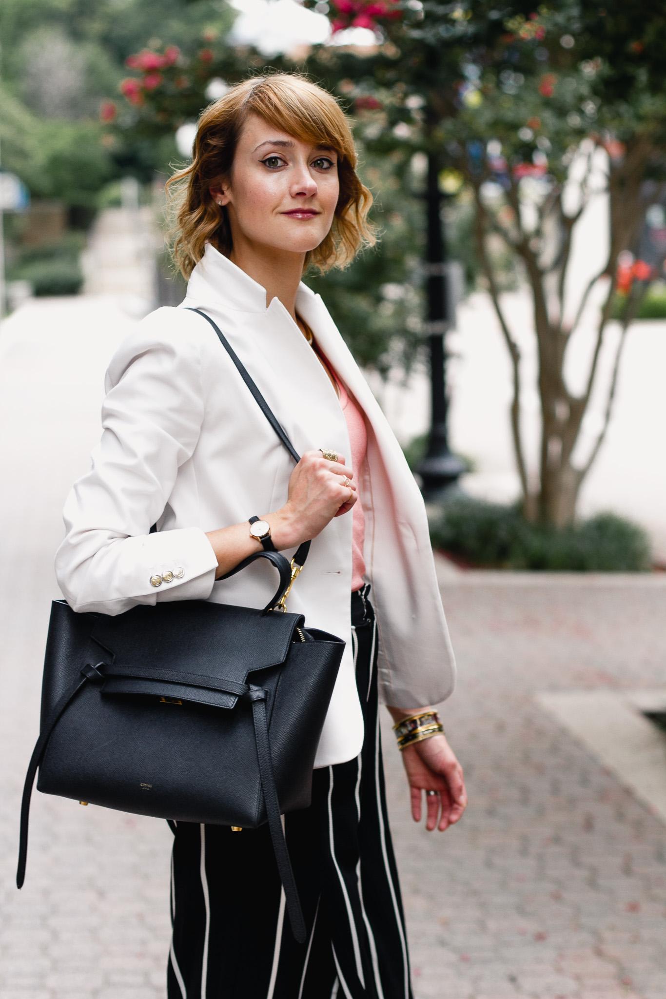 Zara blazer and Celine belt bag