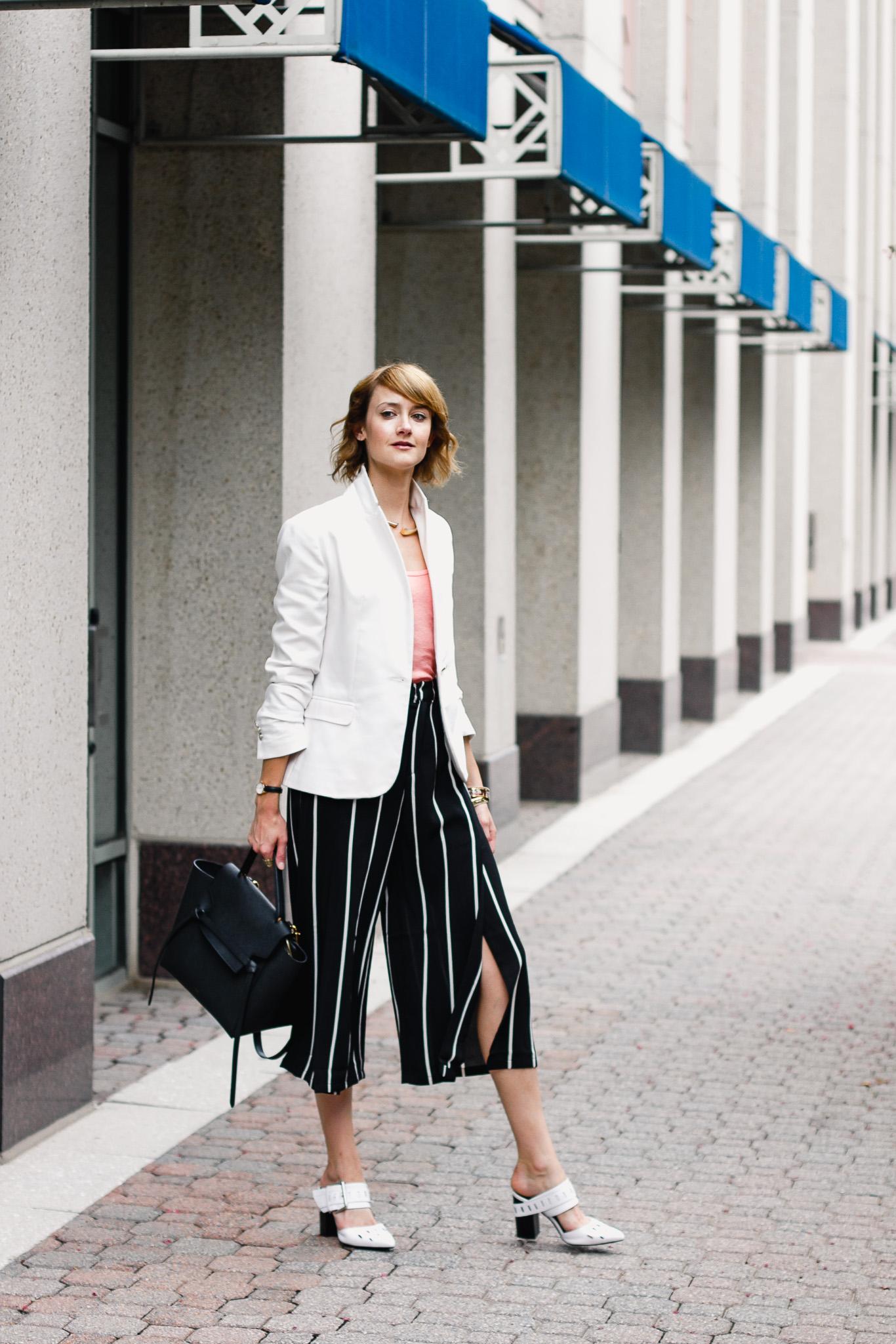 Zara white blazer and Mango striped culottes