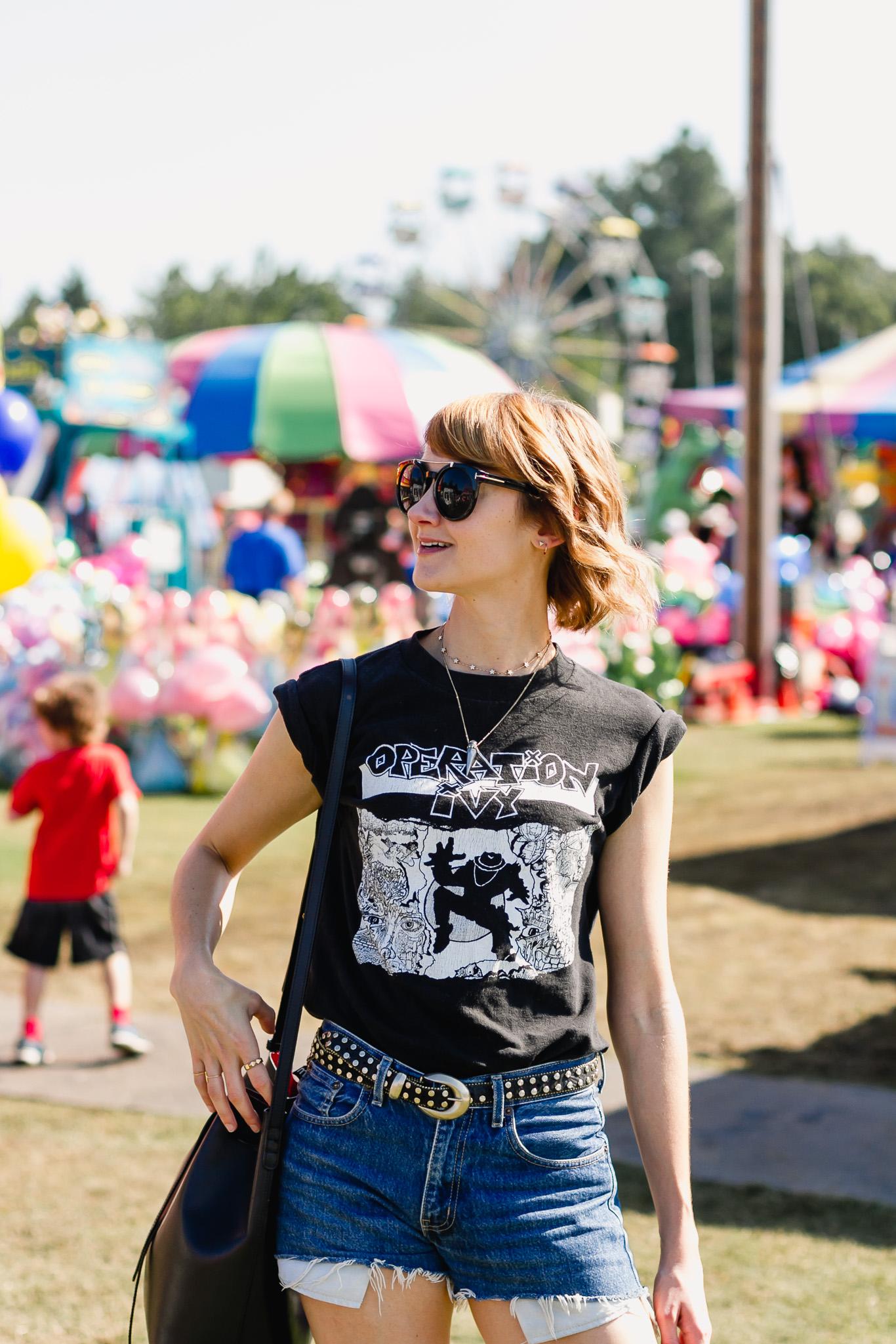 Op Ivy t-shirt, denim shorts, and Topshop western belt