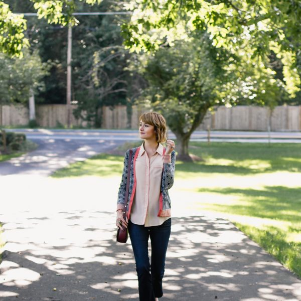 Tory Burch cardigan, Equipment button-down, and Frame jeans