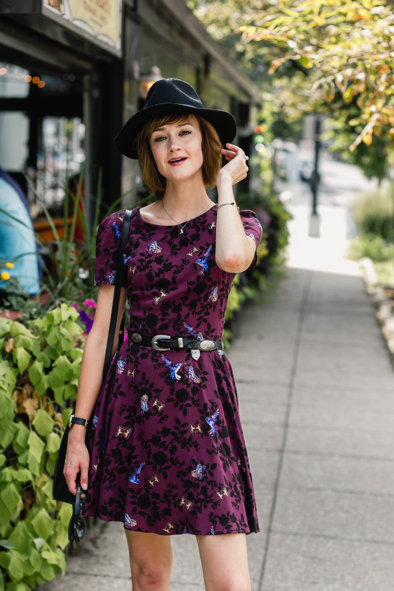 fedora, Oasis dress, and western belt