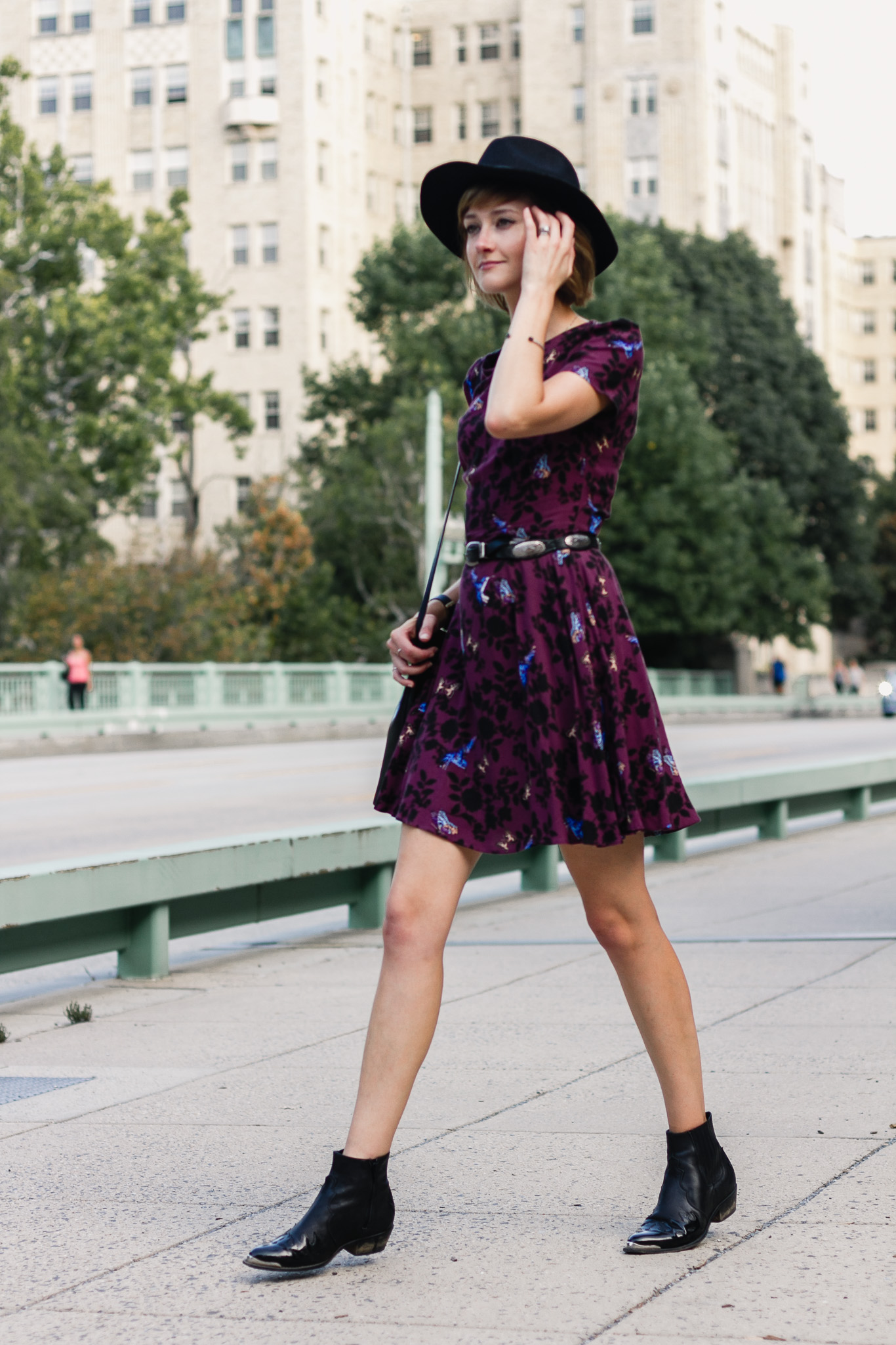 fedora, Oasis dress, and Topshop ankle boots
